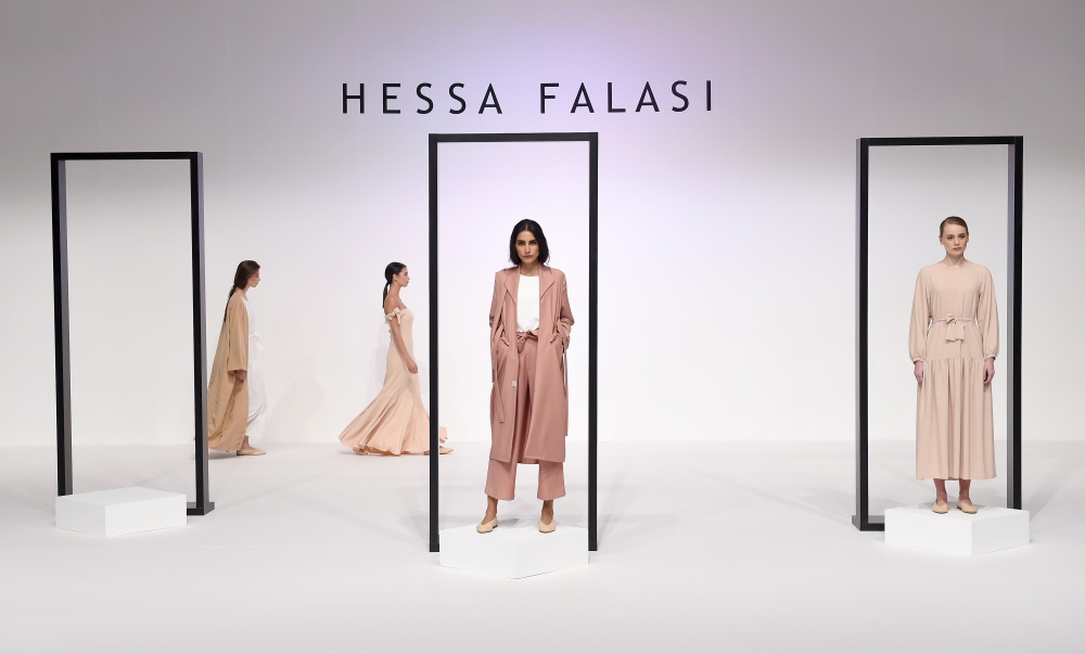 A model walks the runway during the Hessa Falasi presentation at Fashion Forward March 2017 held at the Dubai Design District on March 23, 2017 in Dubai, United Arab Emirates.
